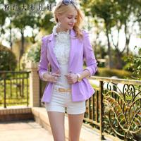 Lovable Secret - White shirt female slim ruffle lace long-sleeve slim shirt  free shipping