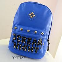 Brand Fashion Women Printing Backpack PU Leather Fluorescence Letter Rivets Shoulder Backpack punk style Kids School Bag KB-005