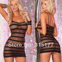 Free shipping Lethal Dose Black Striped Fishnet Mini Chemise Dress Women Underwear 10pcs/lot  Hot sell Gift for women 21225
