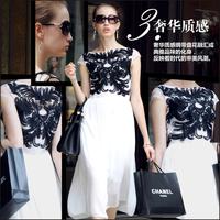 European stations 2014 Summer New High Street Women Dress big star Embroidery Long Chiffon Brief DressColor: Black, White