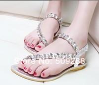 2014 summer flip-flop flat rhinestone sandals bohemia women's flat sandals