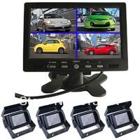 "4x CCD Bus camera + 1x 7"" Digital 4 channel Quad split Monitor Rear view kit 24V Car Home CCTV system Reverse Backup Parking"