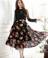 Free Shipping High Quality Spring New Arrival Korean Flower Printed Long Sleeve Long Chiffon Dress Pink/Black