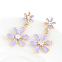 2014 Fashion Exaggerated Sun Flower Crystal Stud Earring Jewelry For Women Earring