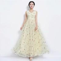 Free Shipping High Quality Elegant Hot Sale Flower Printed Sleeveless V Collar Long Chiffon Dress