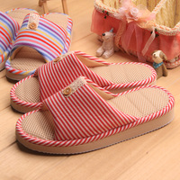 free shipping 2014  lovers slippers flats spring and summer opening basin stripe breathable interior cotton-padded slippers