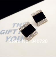 Luxury Vintage Elegant Korean OL Black Oil With Crystal and Rhinestone Square Stud Earrings for Women