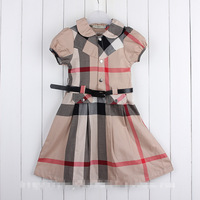 2014 summer Hot Fashion brand children dress Girl's plaid Dress Elgland Teenage Girls vintage london dress with belt 5-14Y