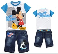 Wholesale New 2014 2pcs Summer children boy clothing set,cotton cartoon Mickey mouse short t shirts + jeans pants  clothes sets