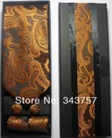 New Silk Classic Paisley JACQUARD WOVEN Men's Tie Cufflink Hanky Set Necktie 004