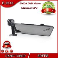"100% High Quality 6000A Rearview Mirror Car DVR Camera Full HD 1080P 30FPS 4.3""LCD Rear view camera 720P G-Sensor HDMI H.264"
