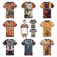 2014 New Style Summer Unquie 3D Oli Paint Printing Renaissance Europe USA Pray for Paris Cotton Man T-shirt Clothes M L XL