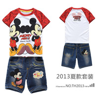 Wholesale New 2014 Summer cotton children boy clothing set,cartoon Mickey mouse short t shirts+jeans pants 2pcs clothes sets