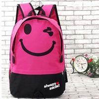 2014 New Arrival Fashiona backpacks Casual Nylon Cartoon Smile Face Men Women knapsack school student bag travel bags KB-006