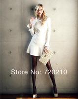 Fashion spring fresh white ruffle hem long-sleeve high waist one-piece dress gentlewomen elegant formal short skirt 9015