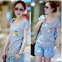 Plus size mm short-sleeve T-shirt 2014 spring 100% cotton patchwork Large 120 - 200