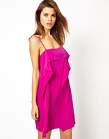 Long ruffle decoration candy color solid color zipper back spaghetti strap chiffon shirt one-piece dress haoduoyi