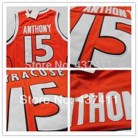 Carmelo Anthony SYRACUSE Jersey, Syracuse #15 Carmelo Anthony Jersey Embroidered - Orange, Free Shipping