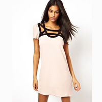 Fashion front and rear cutout braid cross short-sleeve shallow pink one-piece dress haoduoyi
