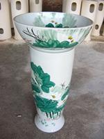 Handmade art ceramic wash basin pedestal basin set