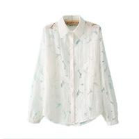 Plus Size Fits Bust 100CM~108CM  sweet flower white fluid button shirt basic shirt LACE sheer 2014 new summer Blouses women