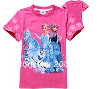 Free Shipping Fashion Girl's Summer Cotton TEE 6 Sizes Latest Movie Frozen Princess Elsa Children T shirt Costume
