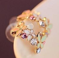South Korea Jewelry Circle Butterfly Flowers Fresh Daisy Earrings!#2234