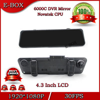"2014 New 6000D Car DVR Camera Rearview Mirror Full HD 1920*1080P 30FPS 4.3""LCD HDMI H.264 G-Sensor 170 Degree wide angle"