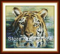 free ship precise printed cloth cross-stitch kit embroidery pattern diy needlework set 11ct dmc animal painting tiger unfinished