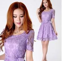 Plus size Women lace dress 2014 Organza purple ruffle Bow Summer dress slim sweet embroidery short-sleeve Casual dress