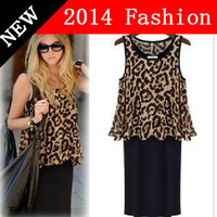 HOT SALE 2014 new arrival fashion summer women dresses Europe and America Fan Star two-piece leopard-point career dress 0407L