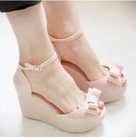 New arrival 2014 jelly shoes bow platform wedges sandals open toeHigh heel sandals waterproof pump women'sHigh-heeled sandals