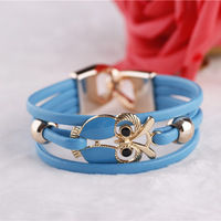 2013 new European and American Fashion Owl Beaded Leather Bracelet#1844