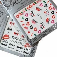 Saint finger sticker applique nail art watermark multicolour glasses red lips 10 series