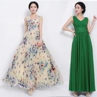 2014 Butterfly flower Summer Chiffon V-Neck slim waist  belt solid color green one-piece women fashion dress NL888