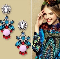 Europe And The United States Major Suit Temperament Fresh Mint Green Gem Topaz Flower Earrings!#158