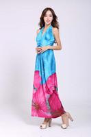 2014 New Summer Sexy Elegant Women Floral Print Maxi Dress Halterneck Fashion Bohemia Beach Flower Party Evening Long Dress