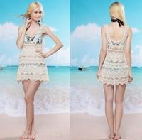 Tops Women's Sexy 2014 Women Embroidery Sleeveless Lace Crochet Floral Print Fashion Blouse Hollow Korea Style Sandy Beach Dress