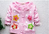Free shipping New 1pcs baby girl coat Kids spring autumn Wear Sweet flower long Sleeve Sweatshirts Children clothes Clothing