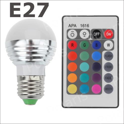 E27 3W RGB LED Light Bulb + 24key Remote Controller Magic Lighting 16 Colors change #p(China (Mainland))