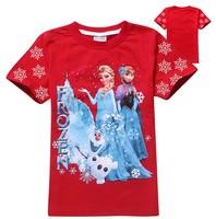 1 pc Retail Sale 2014 New Summer Kids Wear Girls Frozen T-shirts Children's Elsa and Anna Printed Tshirts Baby Cartoon t-shirt