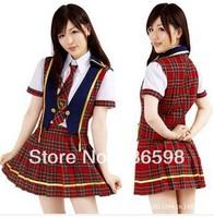 Plaid school wear akb48 student uniforms sailor suit fashion dress cosplay costumes