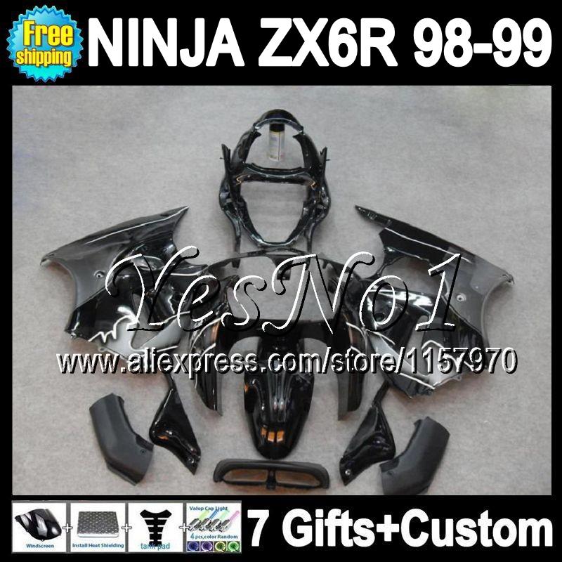 7gifts For black silver KAWASAKI NINJA ZX6R 1998 1999 98-99 Y6144 ZX636 100%new black silvery ZX-6R ZX 6R 636 98 99 Fairing(China (Mainland))