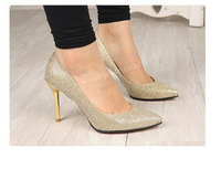 Female women's high-heeled shoes gold black  shoes bling single shoes Sequined Cloth basic closed toe pointed toe thin heels