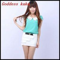 New Spring Blouses 2014 Hot Sale Chiffon Shirts Short-Sleeve Cool Chiffon Women Blouses Free shipping B012