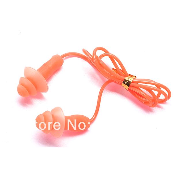 Free shipping swimming pool anti noise/waterproof swimming earplugs with string(China (Mainland))