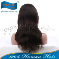 Indian remy human hair natual color natural wave silk base top full lace wig with baby hair