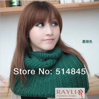 Free Shipping New 2014 Fashion Winter Solid Warm Solid Ring Neckerchief Scarf Knitted Yarn Mohair Wrap Scarf  WJ070