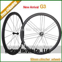 New Arrival !G3 50mm clincher carbon bike wheelset light 700C carbon fiber road bike G3 wheels