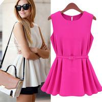 With Belt! New 2014 Summer Women Blouse Fashion Candy Chiffon Blusas Vest Top Tank Sleeveless Shirt Casual Silm Shirts Plus Size